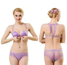Front Closure Bra Purple Sexy Back Bras Lace Bralett Sutia Crop Top - $32.49