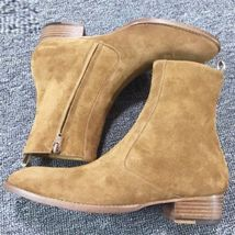 Handmade Men Tan color Suede ankle boots Men side zipper boots, Men Zipper boots - $179.99
