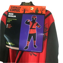 Red Ninja Boys Costume Large Black Red Child Playtime Youth 30 Chest Theater - $14.83