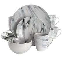 Elama Fine Marble 16 Piece Stoneware Dinnerware Set in Black and White - $126.17