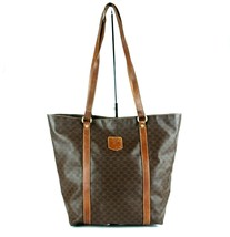Auth CELINE Macadam PVC Canvas & Brown Leather Tote Bucket Shoulder Bag Italy  - $98.01