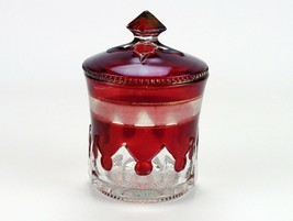 McKee Gothic Ruby Stained Covered Sugar, Antique EAPG c.1903 National Glass - $68.60