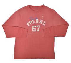 Ralph Lauren Boys Red Long Sleeve Splatter Graphic Tee Shirt Medium 10-1... - $22.71
