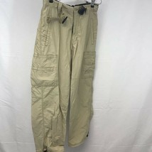 Old Navy Mens Cargo Pants Beige Pockets Flat Front Belted Zipper Belt Lo... - $18.12
