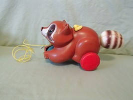 Vintage 1979  Fisher-Price #172 Roly the Racoon Pull A Long Toy - $15.83
