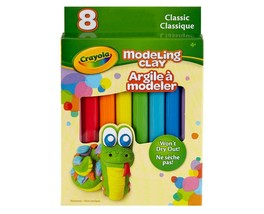 CRAYOLA* 8pc Set MODELING CLAY Won't Dry Out CLASSIC COLORS Non-Toxic BO... - $3.50