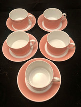 Fitz and Floyd Rondelet Pink Peach Flat Cups Saucers 10 PC Vintage 1975 - $40.15