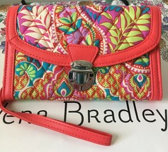 Vera Bradley Ultimate Wristlet Pushlock Paisley In Paradise Nwt Msrp $54.00 - $25.99