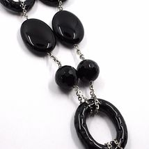 18k White Gold Necklace, Onyx Black, Round and Oval Pendant, Chain Rolo image 3