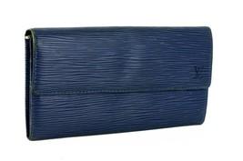 Auth LOUIS VUITTON Epi Leather Portefeuille Long Wallet Blue Spain Acces... - $177.21