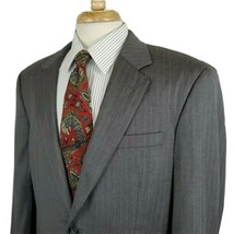 Jos A Bank Mens Pinstripe Suit Coat Jacket 42R Gray 100% Wool Two Button... - $23.99