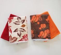"Fall Halloween Dishcloths Fingertip Towels 4pc 12""x12"" Red Orange Leaves Pumpkin - $9.99"