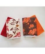 "Fall Halloween Dishcloths Fingertip Towels 4pc 12""x12"" Red Orange Leaves... - $9.99"