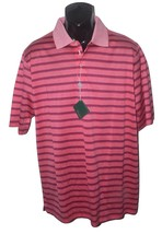 NWT BOBBY JONES L golf casual polo shirt striped hot coral men's short s... - $62.07