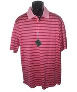 NWT BOBBY JONES L golf casual polo shirt striped hot coral men's short s... - $62.07