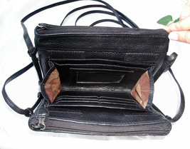 Brighton Croc and Pebbled Leather Cross Body Organizer Bag Black Silver Wallet image 11