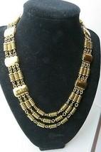 Monet Necklace Gold Plated Triple Strand Designer Hammered 1980s Vintage... - $24.74
