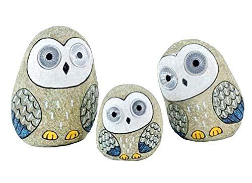 Solar Owls with Light Up Eyes, Set of 3 Figures Grey