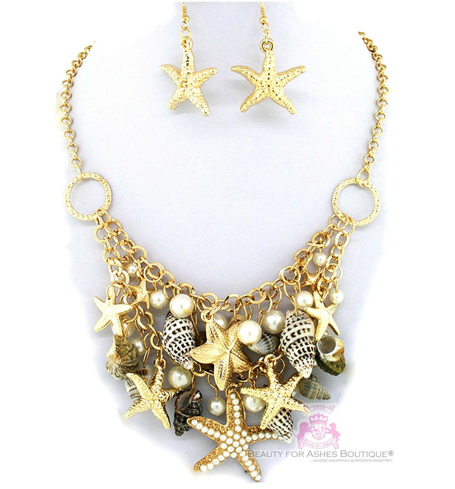 Nautical Gold Tone Bib Beach Ocean Starfish Sea Shell Chunky Charms Necklace Set - $14.97