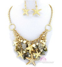 Nautical Gold Tone Bib Beach Ocean Starfish Sea Shell Chunky Charms Neck... - $7.49