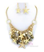 Nautical Gold Tone Bib Beach Ocean Starfish Sea Shell Chunky Charms Neck... - $7.49