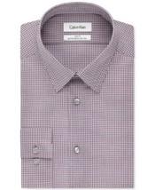 Calvin Klein Regular Fit Check Dress Shirt 15.5  32/33 Pink Multi - $23.75