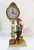 Crosa quartz mantel clock post clown hobo with suitcase and dog - $41.28