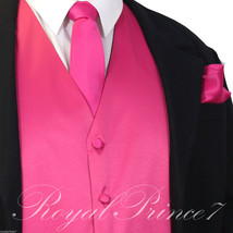 Fuchsia Pink Tuxedo Suit Vest Waistcoat and Neck tie Hanky Set Prom Wedding - $19.78+