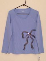 HUE Sequined Long Sleeve Pajama Sleep Top Small Medium - $8.99