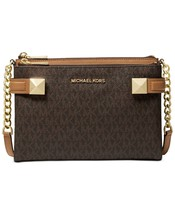NWT MICHAEL KORS KARLA SIGNATURE EAST WEST CROSSBODY BAG LOGO BROWN - $153.84
