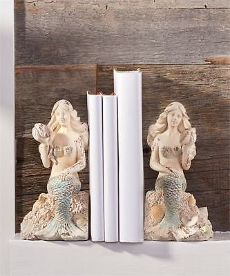Set of 2 Mermaid Design Bookends with Weathered Cream & Turquoise Finish NEW
