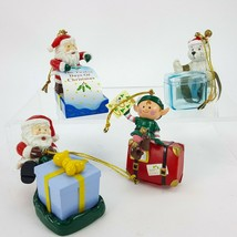 Christmas Ornament LOT Santa Bear Boxes that Open & Elf w/ Suitcase & Sa... - $19.26