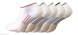5 Pairs Ladies White Coloured Sole Trainer Liner Socks 6-8.5 Uk, 39-42 Eur - $7.37