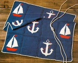 Z524 Crochet PATTERN ONLY Nautical Afghan Anchor Pattern - $8.50