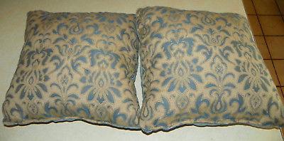 Pair of Blue Beige Print Throw Pillows  17 X 17