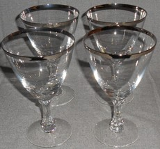 Set (4) Fostoria Crystal WEDDING RING PATTERN 12 oz Water Goblets PLATIN... - $39.59