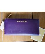 MICHAEL KORS Leather Damson ZA Continental Clutch Wallet Purple NWT - $99.99