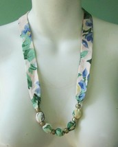 Prairie Floral and Paisley Print Fabric Sash Necklace Knotted Beaded Lot... - $5.70