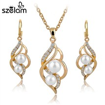 SZELAM Fashion Simulated Pearl Crystal Earrings Necklace Set For Women W... - $21.52