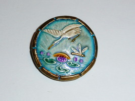 """Beautiful Diving Heron Over Pond Art Stone Ceramic Button 1-1/4"""" White H... - $14.24"""