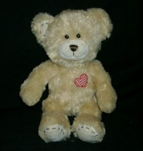 """12 """"construction workshop bear teddy heart red fawn on chest - $13.99"""