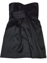 Mind Code Medium Black Satin Cocktail Party Mini Dress M Strapless - $18.00