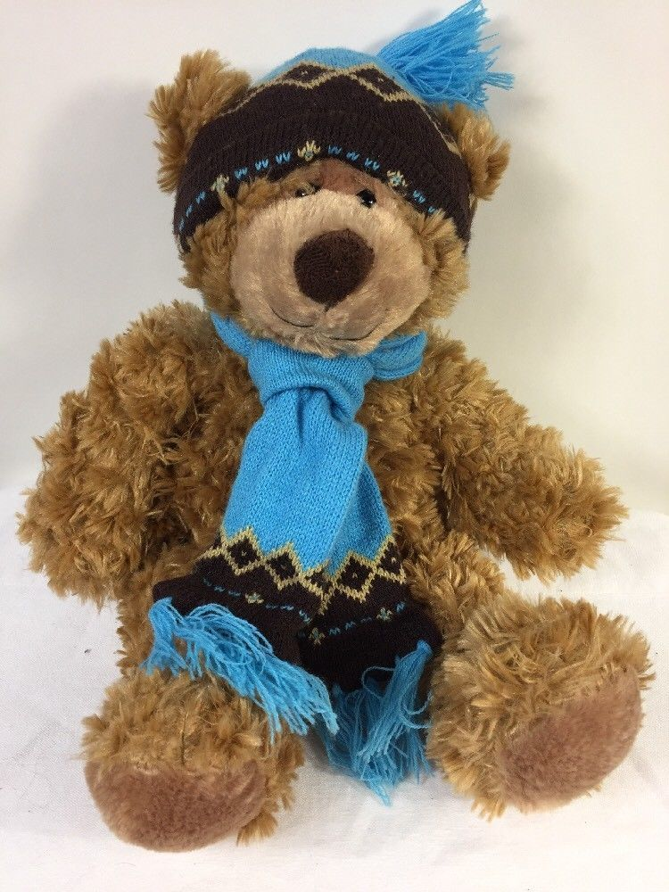 "Mary Meyer Plush St. Jude Oliver Bear 16"" Stuffed Animal in Blue Knit Hat Scarf"