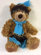 "Mary Meyer Plush St. Jude Oliver Bear 16"" Stuffed Animal in Blue Knit Hat Scarf - $11.39"