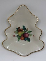 Lenox Holiday Tartan Christmas Tree Candy Dish Fruit Nuts Leaves Gold Trim  - $18.00