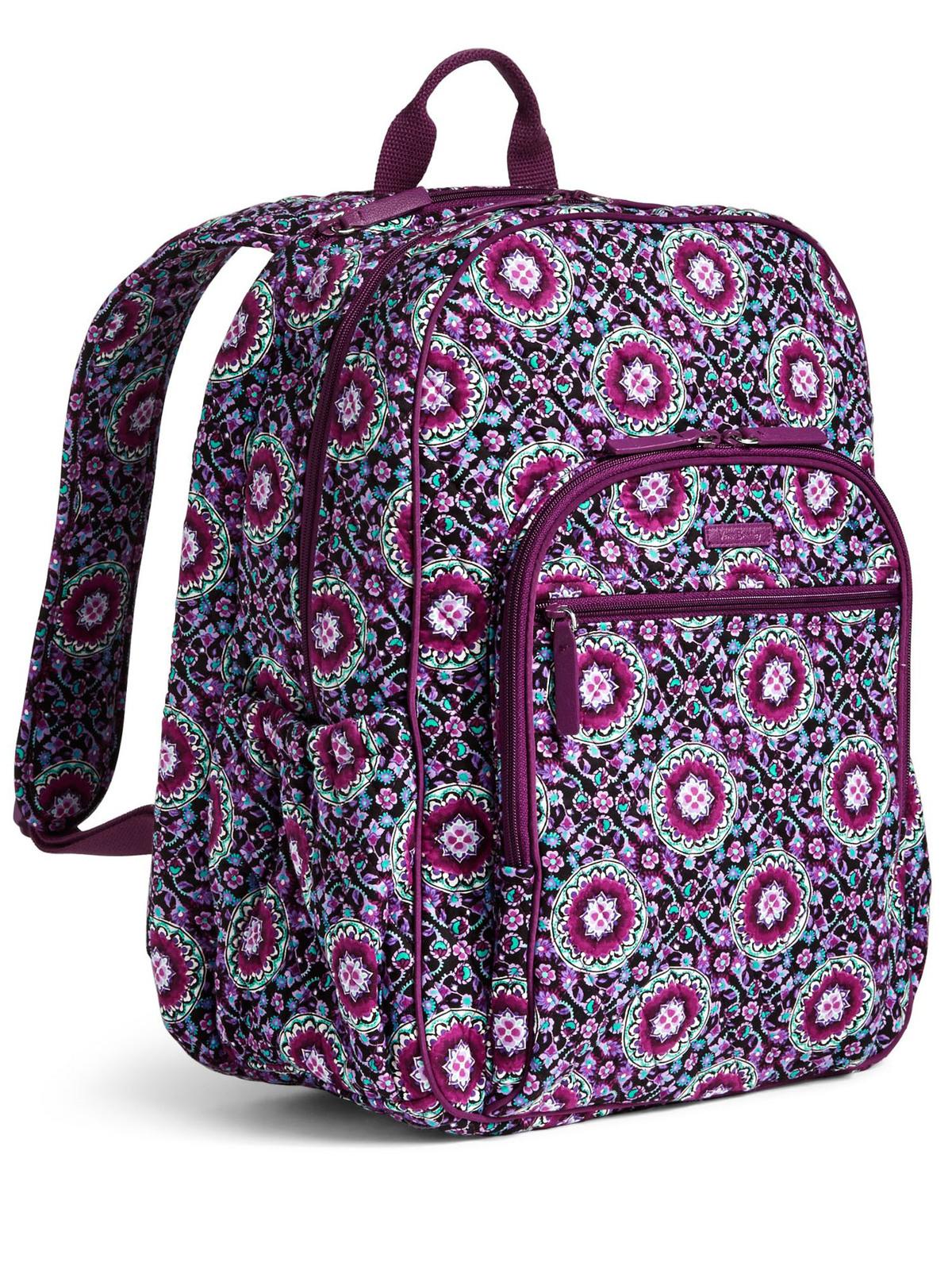 Vera Bradley Signature Cotton Campus Tech Backpack, Lilac Medallion image 5