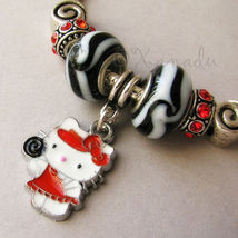 Red Hello Kitty Princess European Charm Bracelet With Black And Red Enamel Beads