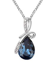 18K White Gold Plated Necklace w/Teardrop Swarovski Crystal - $5.93