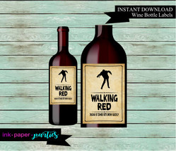 "Halloween Zombie Walkers ""Walking Red"" Wine Labels Party Favor Favors Di... - $2.00"
