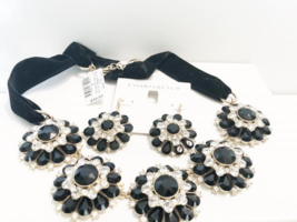 Charter Club Gold with Black and Clear Crystals Choker with Matching Earrings - $34.65